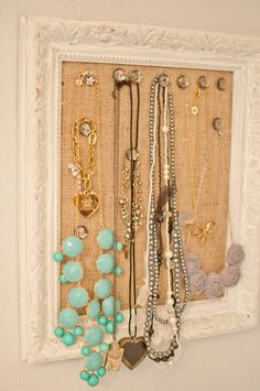 DIY Cork Board Jewelry Frame -- only I would need one the size of Texas :)