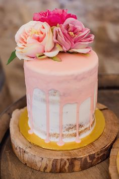 Pink drip wedding cake with faux flower topper | Stirling Photography