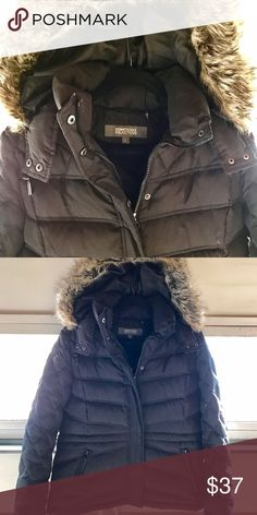 Kenneth Cole down jacket with hood Beautiful and warm black down jacket with detachable faux fur hood. Excellent condition. Hip length with waist cinch. Worn a handful of times. Kenneth Cole Reaction Jackets & Coats Puffers