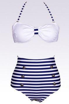 Sexy Woman Striped White Bikinis    Visit my site Real Techniques brushes makeup -$10    #bikini
