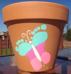 Kids Butterfly Footprint Flower Pot Craft