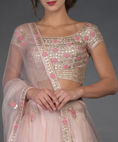 Indian wedding outfits for ladies Nude Pink Resham and Gota Patti Hand Embroidered Lehenga Sari Design, Sari Blouse Designs, Designer Blouse Patterns, Indian Lehenga, Indian Gowns, Indian Attire, Indian Wear, Blouse Lehenga, Lehnga Dress
