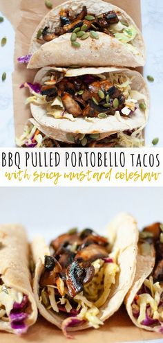 Bbq Pulled Portobello Tacos With Spicy Slaw Cozy Peach Kitchen - These Pulled Portobello Tacos Are Coated In A Sweet Barbecue Sauce And Take Under Minutes To Make Combine With A Spicy Mustard Slaw To Make The Perfect Easy Summer Recipe Vegan Dinner Recipes, Delicious Vegan Recipes, Vegan Snacks, Vegan Dinners, Vegetarian Recipes, Easy Vegan Lunch, Healthy Recipes, Vegan Foods, Lunch Recipes