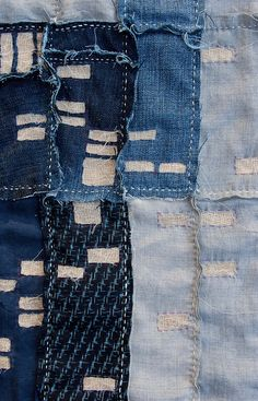 "What about using a map of houses and yards of the family's Spokane properties? Machine stitch for me.  Great mixed fabrics presumably with bondaweb.   Atlanta Foreclosure Quilt, 2011.19 1/2"" x 19 1/2"" Recycled denim, bleached linen, cheesecloth, yarn and embroidery thread. SOLD by kikiclark..."
