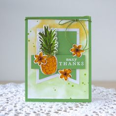 Pineapple thank you card by Jayne Nelson featuring Hero Arts Color Layering…
