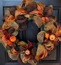 Ooo - LOVE this! Fall Decor Wreath - Fall Deco Mesh Wreath - Thanksgiving Wreath - Handmade - Custom Wreath                                                                                                                                                      More