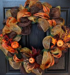 Ooo - LOVE this! Fall Decor Wreath - Fall Deco Mesh Wreath - Thanksgiving Wreath - Handmade - Custom Wreath More