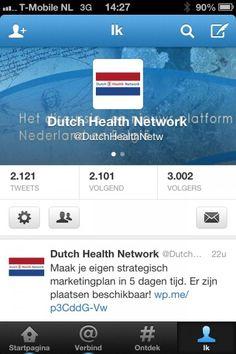 Volg het Dutch Health Network natuurlijk op Twitter via http://twitter.com/dutchhealthnetw - er zijn  inmiddels 10 Twitter accounts voor de verschillende doelgroepen.