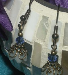 Brass & Transparent White Flower with Blue Bead by RadianceByKathy, $7.00