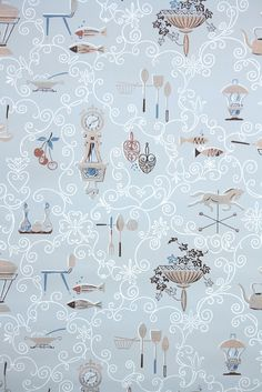 1950s midcentury modern kitchen #vintagewallpaper from Hannah's Treasures Vintage Wallpaper Collection