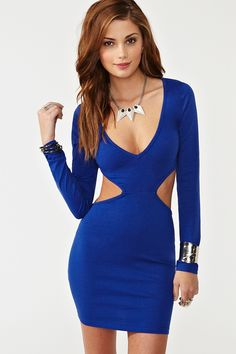 "Roxy Cutout Dress in Blue - BUT BLACK!! - Amazing blue body-con dress featuring a deep v neckline and cutout detailing. Stretch fabric, unlined. Looks rad paired with stacked bangles and platforms!    *Cotton/Polyester/Spandex Blend  *31.5"" length"