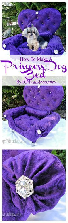 HOW TO MAKE A DIY DOG BED PRINCESS THRONE FROM AN OLD DRAWER .............Plus, tons more fun DIYs at DIYFUNIDEAS.COM