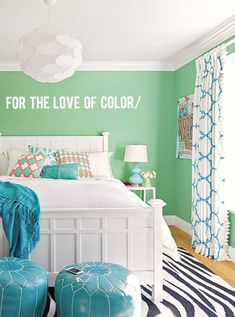 For the Love of Color: Mint Green. Turquoise accents. Leather poof ottoman. Sweet girls room