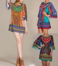 Eliza Bella for Flying Tomato Bell Sleeve Boho, Hippie, Gypsy Print Dress SML