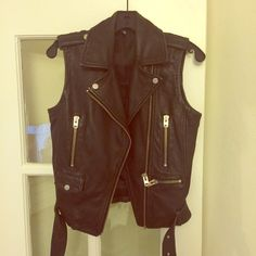 """Topshop """"Sylvia"""" leather vest Amazing wear with anything, real leather vest from Topshop.  Really nice quality leather.  Edgy moto details.  Good condition! Topshop Jackets & Coats Vests"""