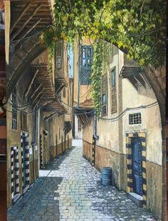 Painting picture of Old Damascus, Syria Syria Pictures, Naher Osten, Arabian Art, Perspective Art, Pedestrian Bridge, Unusual Homes, Islamic Art Calligraphy, House Drawing, Islamic Architecture