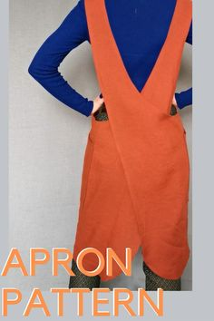 No Sew Apron, Apron Sewing, Apron Pattern Free, Apron Patterns, Pinafore Pattern, Pinafore Apron, Plus Size Sewing Patterns, Japanese Sewing Patterns, Sewing Pockets