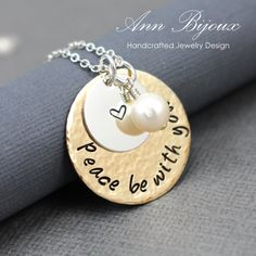 Hand Stamped 'Peace be with you' Message Necklace, Personalized Hand Stamped Necklace, Personalized Hammered Silver Necklace, Mom Gift by ANNBIJOUXNEWYORK on Etsy