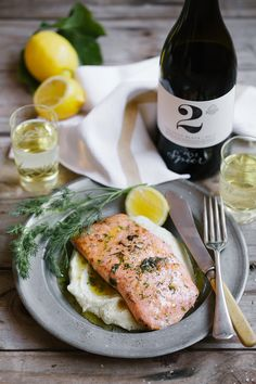 Pan-fried salmon with dill butter sauce on cauliflower puree | Spier Wine Farm