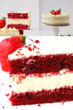 Red Velvet Cheesecake Cake - beautiful, fun to make and delicious! Perfect for any celebration. Red Velvet Cheesecake Cake - beautiful, fun to make and delicious! Perfect for any celebration. Easy Homemade Cake, Homemade Vanilla Cake, Easy Vanilla Cake Recipe, Chocolate Cake Recipe Easy, Homemade Cake Recipes, Gluten Free Red Velvet Cake Recipe, Red Velvet Cake Recipe From Scratch, Original Red Velvet Cake Recipe, Vanilla Cupcakes