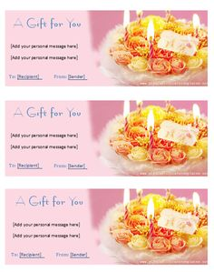 Birthday Gift Certificate Template  Ideas For The House