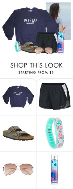 """Going to target"" by flroasburn ❤ liked on Polyvore featuring NIKE, Birkenstock, Fitbit and H&M"