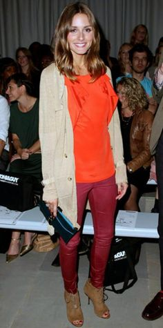 Look of the Day › September 18, 2011 WHAT SHE WORE Palermo attended the Toni & Guy show in a slouchy cardigan layered over a drapy persimmon blouse and burgundy leather leggings.