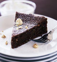 Flourless Hazelnut/Almond Chocolate Cake.  Makes: 8 to 10 servings
