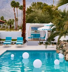 2017 Modernism Week Showhouse The outdoor seating from Amalfi Living provides the perfect place to c Amalfi, Palm Springs Mid Century Modern, Mosaic Shower Tile, Atrium Design, Traditional Home Magazine, Pool Furniture, Furniture Sale, Outdoor Furniture, Palm Springs Houses