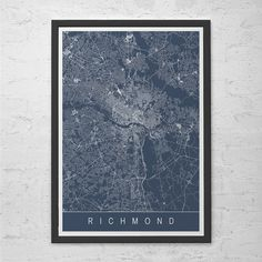 RICHMOND MAP PRINT - Richmond Virginia V.A. Map Art - High Quality Giclee Print Minimalist Art Print Customizable City Map Ribba Size
