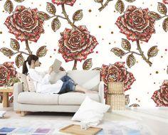 Vintage Wallpaper Custom 3D Wall Mural Hand-painted Rose Flower Photo wallpaper Room decor Kids Girls Bedroom Living room Shop