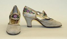 Thistle embroidered pumps by shoemaker André Perugia, 1925