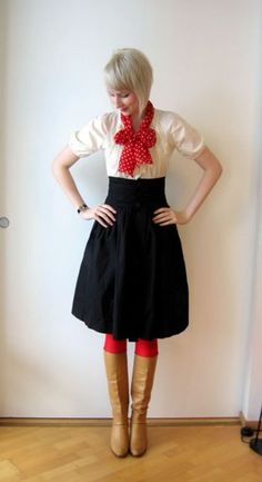 a little vintage for me; but cute! high-waisted black skirt w/ red polka dot bow and tall boots