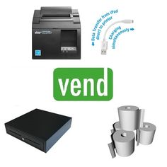 Vend Point of Sale Hardware Bundle with Star TSP143III USB Receipt Printer, Cash Drawer and Box of Thermal Paper Rolls compatible with Vend POS Software.   Bundle Includes: 1 x Star TSP143III USB Receipt Printer 1 x Cash Drawer with 5 Notes & 8 Coins 1 x Box 80x80 Thermal Paper Rolls (24Qty) Point Of Sale, Pos, Hardware, Bluetooth, Printer, Drawer, Software, Computer Hardware, Printers