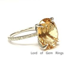 Oval Orange Citrine Engagement Ring Pave Diamond Wedding 14K White Gold,10x12mm