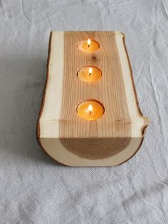 obsessed - Candle Holder split log reversible bark on by BlisscraftandBrazen. $50.00, via Etsy.