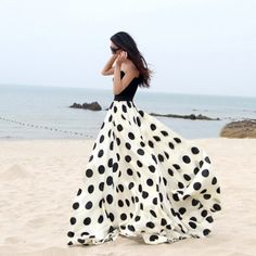 Charming Chiffon Polka Dot Pattern Long Maxi Skirts Black&White.