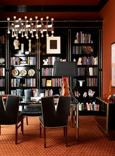 Black, gold, bookcase inspiration