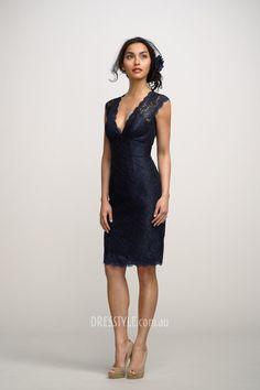dark blue lace sleeveless deep v-neck sheath knee length keyhole back bridesmaid dress