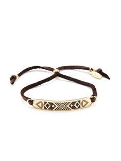 Navajo Pattern Enamel and Leather Cord Friendship Bracelet by Ettika Jewelry