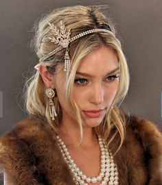 SILVER Flapper Cerchietto Con Piume Nere 20s 30s Gangster Moll Costume