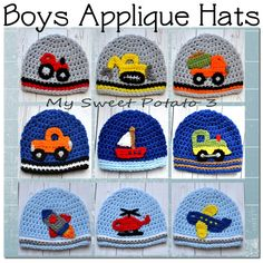Boys Hat - Construction, Farm, Air, Water - Crochet Hat