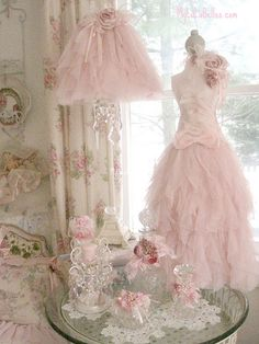 www.mylulabelles.com   Pink vintage antique shabby chic Victorian dress lamp floral flowers interior design parlour parlor