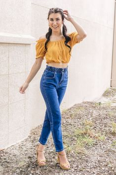 Trendy & affordable women's boutique shopping at The Copper Closet. Mustard Yellow Outfit, Yellow Outfits, Preppy Outfits, Cute Outfits, Ladies Boutique, Boutique Clothing, Fashion Boutique, Summer Fall, Autumn Fall