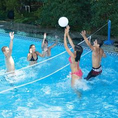 Use the Swimline Molded Cross Pool I. Volleyball to enjoy an enthusiastic game of volleyball when frolicking with friends or family in the pool. This volleyball set is made of premium quality materi My Pool, Pool Water, Pool Fun, Porches, Water Sports Store, Water Volleyball, Swimming Pool Games, Sport Pool, Pool Accessories