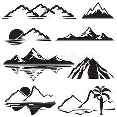 line drawn mountains - Google Search