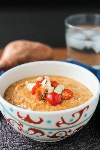 Sweet Potato Almond Soup - a thick and hearty, full of flavor soup, ready in less than 30 minutes. Guaranteed to keep you warm all winter.