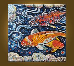 Abstract Koi  20 x 20 inch Original Oil Painting by ElizabethGraf