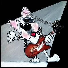bulldog guitar rock n roll music rock star by tangerinestudio
