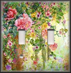 Light Switch Plate Cover - Flower Garden 01 - Floral Home Decor - Roses #LunaGallerySwitchPlates